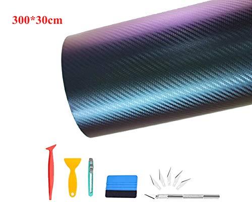 CompraFun Carbon Folie, Flexibel Selbstklebend Auto Schutz Folie, Autofolie Vinyl mit Installationszubehör 300 * 30 Chamäleon Blau Lila