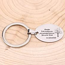 """MEIHEK Keychain Hand Stamped Jewelry Key Chain for Grandpa Gift""""to The World You Are My Grandpa.Me You Are The World""""Keyring Gift Souvenir"""