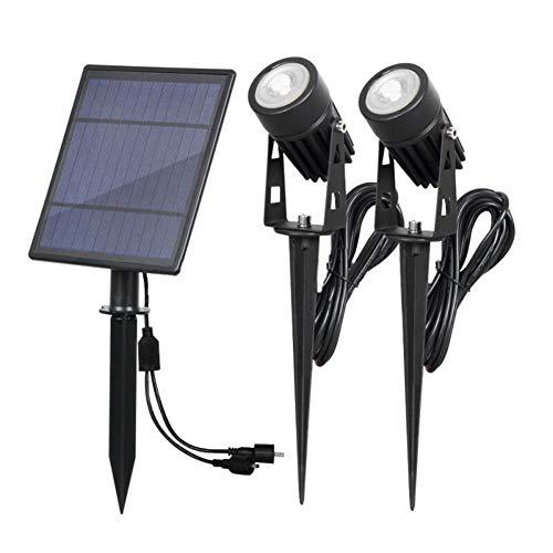 Gyfhmy buitenverlichting op zonne-energie met 2 spots, laagspanningskabel, 2 W kabel, snoer van 16,4ft-kwaliteit, IP65 waterdicht