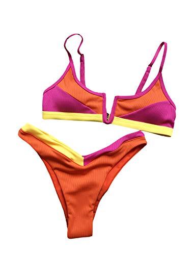 SOLY HUX - Traje de baño de bikini de corte alto para mujer, 2 piezas, Corte alto, M, Multi color