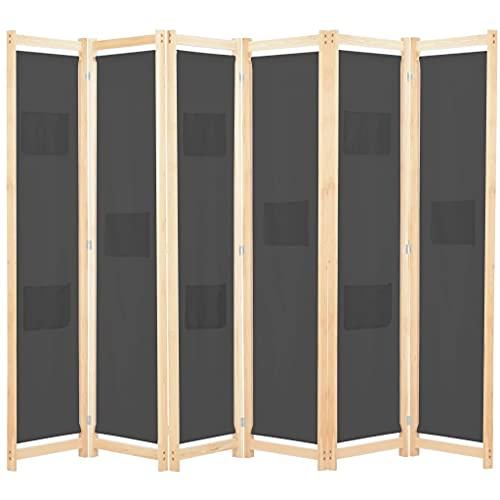 vidaXL Cloison de Séparation 6 Panneaux Séparateur de Pièce Paravent Brise-Vue Chambre à Coucher Maison Intérieur Gris 240x170x4 cm Tissu