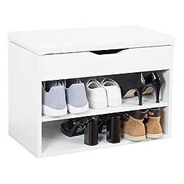 RICOO WM032-WM-W Meuble à Chaussures 60x42x30cm Banc Coffre Rangement Commode Banquette Meuble de Rangement Chaussures…