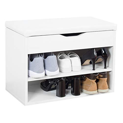 RICOO WM032-W-W Banco Zapatero 60x42x30cm Armario Interior con Asiento Organizador Zapatos Mueble recibidor Perchero Entrada Madera Blanco