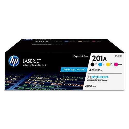 HP 201A | CF400AQ1 | 4 Toner Cartridges | Black, Cyan, Magenta, Yellow | Works with HP Color LaserJet Pro M252dw, M277 series