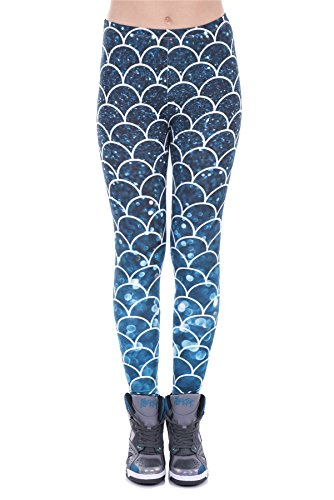 Kukubird Printed Patterns Women's Yoga Leggings Gym Fitness Running Pilates Tights Skinny Pants Size 6-10 Stretchable - Mermaid Glitter