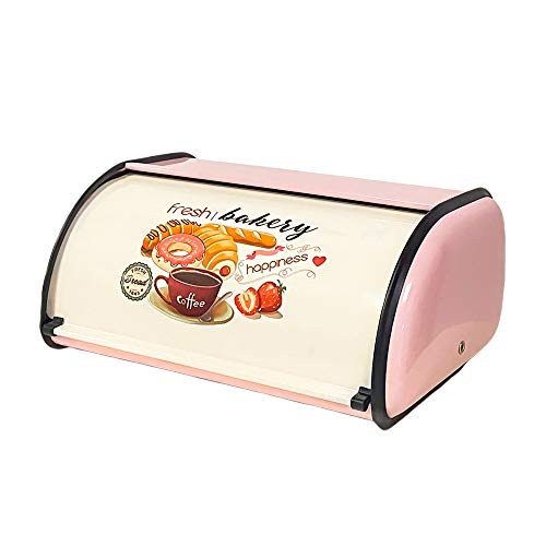 X459 Metal Bread Box/Bin/kitchen Storage Containers/Home KitChen Gifts with Roll Top Lid (Pink)