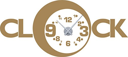 GRAZDesign 800046 muurtattoo klok wandklok met uurwerk voor de woonkamer spreuk klok cijfers klein groot Uhrwerk silber 081, lichtbruin