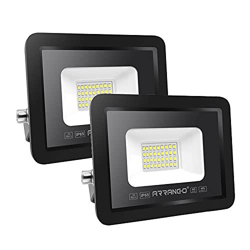 2 PezziFaretti LED per esterno ALTA LUMINOSITÀ 20W 2000lm AOMEX 220V Impermeabile IP65Fari LEDda esternoper Giardino Cortile Garage Piazza (Bianco Caldo-3000K, 20W)
