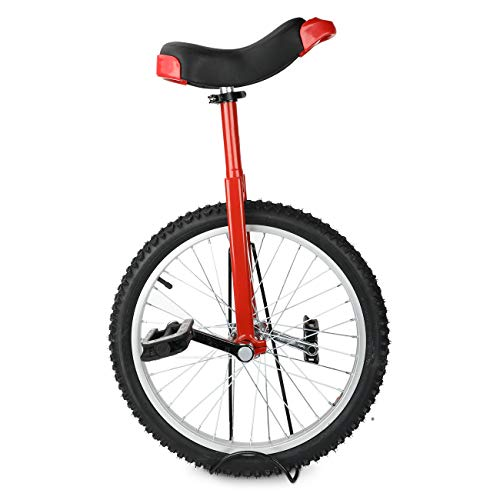 SUDOO 20 Inch Unicycle Wheeled Bike Skidproof Tire Bike Height Adjustable Alloy Rim Bicycle with Sturdy Storage Stand Balance Cycling Exercise Fitness for Adult,Beginner,Trainer