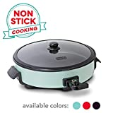 Dash DRG214AQ Family Size Rapid Heat Electric Skillet + Hot Oven Cooker with 14 inch Nonstick Surface + Recipe Book for Pizza, Burgers, Cookies, Fajitas, Breakfast & More, 20 Cup Capacity, Aqua