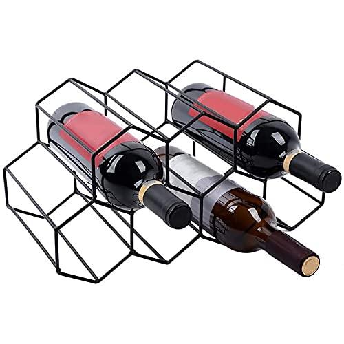Sostenedor de vino de panal de metal para encimera 7 botellas de vino, estante de almacenamiento para licor de pie libre para decoración del hogar sala de estar