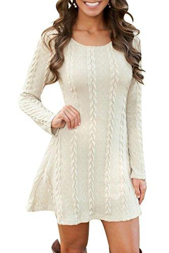 YMING Frauen Pullover Kleid Lose Casual Einfabige Langarm Kleider Herbst Winter Beige XS