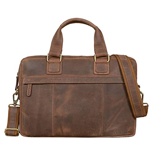 STILORD 'Andrew' Vintage Business Ledertasche Klassische Aktentasche für Herren und Damen 13,3 Zoll Laptoptasche für Arbeit Büro Aufsteckbar, Farbe:Veleta - braun