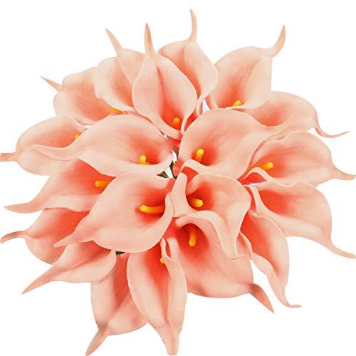 Xiuer Kunstblumen Sumpf-Callas aus Latex, lebensechter Brautstrauß auch für zu Hause oder als Partydekoration geeignet, 20 Stück Lachs