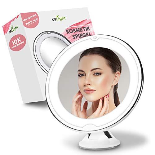 CS Light® Kosmetikspiegel mit Licht – [3] Helligkeitsstufen – [360°] schwenkbar – Montage durch Saugnapf – [10x] Vergrößerung