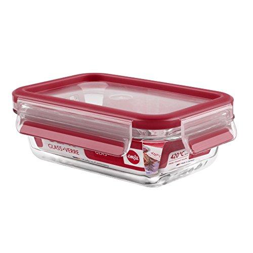 Emsa 513918 Frischhaltedose mit Deckel, Glas, Rechteckig, Volumen 0,5 Liter, Transparent/Rot, Clip & Close