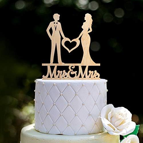 Wooden Mrs And Mrs Wedding Cake Topper Heart,Mrs Mrs Cake Topper Heart,Mrs And Mrs Heart Topper Wedding,Lesbian Cake Topper