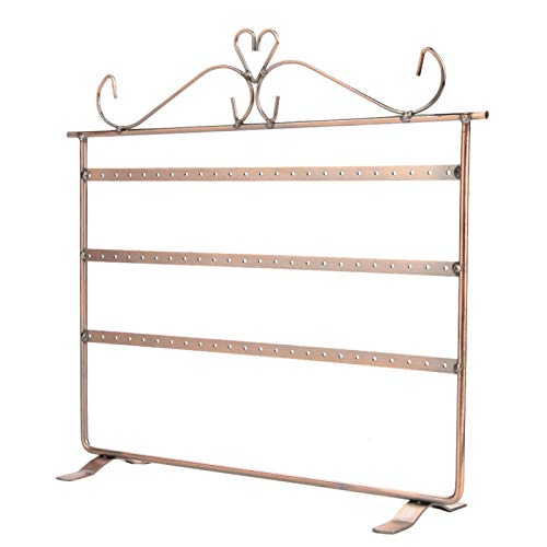 Jewelry Display, Jewelry Holder, Durable Fashionable Earrings Necklace Bracelet Rings Holder Desktop Storage Rack for Jewelry Stores Boutiques(Bronze)