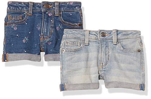 Amazon Essentials 2-Pack Girls Denim Jean Shorts, Flowers/Light Wash, 10 Jahre, 2er-Pack