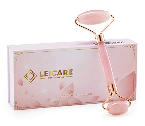 Jade Roller for Face - Rose Quartz Face Roller Skin Care - Stone Facial Roller, Face Massager for Women, Relieve Stress, Remove Wrinkles Eye Puffiness