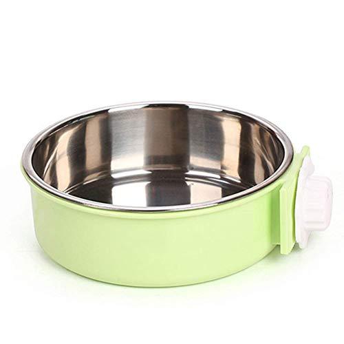 Fliyeong Cuenco extraíble de acero inoxidable para perros, comedero grande para perros, gatos, conejos, pájaros, suministros para mascotas verdes
