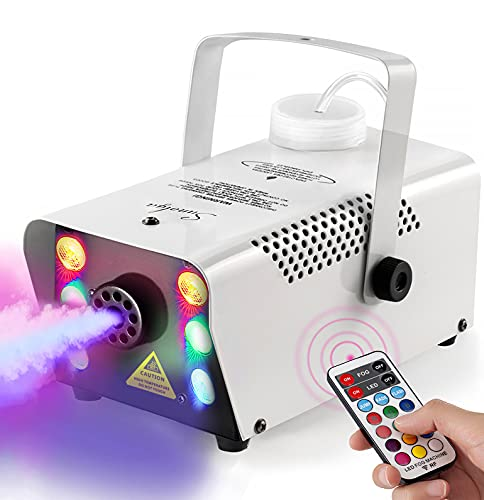 Sunolga Halloween Fog Machine,6 Stage LED Lights with 12 Colors,500W Wireless Remote Control Portable Smoke Machine,with Fuse Protection,for Holidays Parties Weddings Stage Club Bar - White