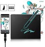 HUION HS64 Tavoletta Grafica da 6,3x4 Pollici (con connettori OTG Supporta OS Android) con Stilo Senza Batteria Ideale per l'apprendimento remoto e Il Lavoro da casa - Nuova Versione 2019