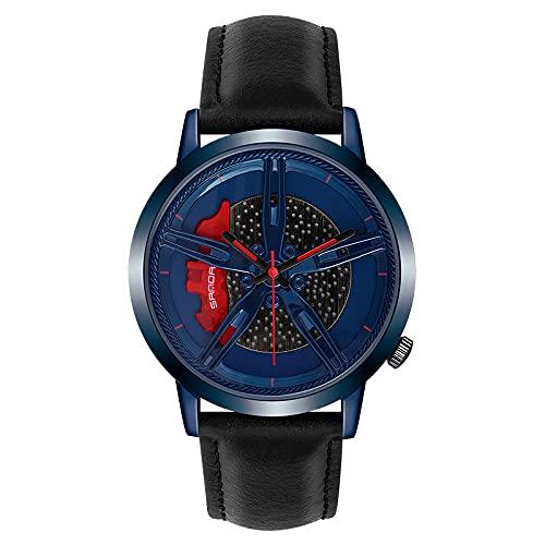 HEEYEE Relojes de los Hombres Reloj de Rueda de Carreras Personalizado Reloj de Pulsera de Coche de Cuero Personalizado no impresión Rueda llanta Reloj Relojes,Azul