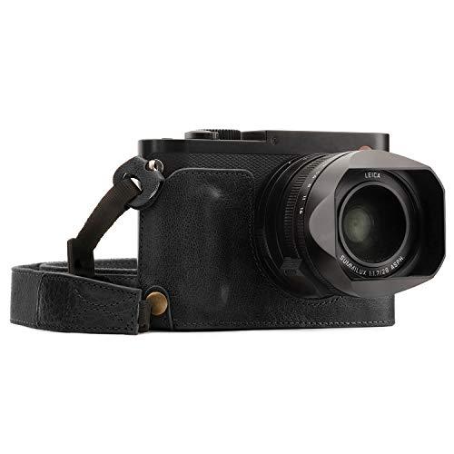 MegaGear Para Leica Q-P, Q (Typ 116) Estuche Ever Ready, Media funda, estuche de base, funda de pronto uso de cuero auténtico, con correa - Negro