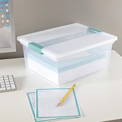 Sterilite 19658604 Deep Clip Box, Clear with Blue Aquarium Latches, 4-Pack