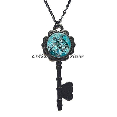 Charm Key Necklace,Sea Turtles Key Pendant, sea Turtle Key Necklace, sea Turtle Jewelry, Turtle Lover Key Pendant, Turtle Key Pendant-ZE283 (Black)