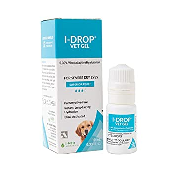 I-DROP VET GEL Lubricating Eye Drops for Pets  for Moderate to Severe Dry Eyes Superior Comfort with Fewer Applications Needed 0.30% Hyaluronan Preservative-free Non-irritating One Bottle  10 Ml