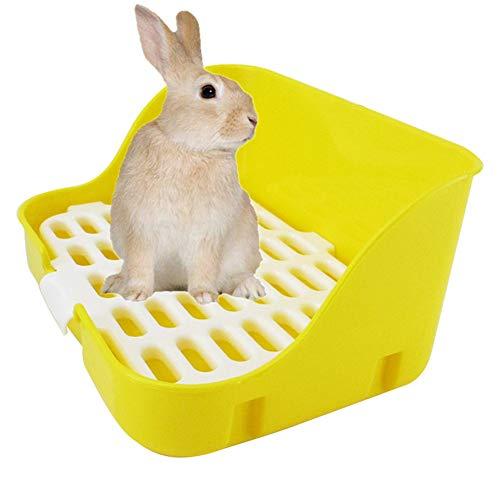 WPCASE Cajas De Arena para Gatos Grandes Arenero Gatos Inodoro De Conejo Reforzado con Inodoro Cuadrado para Conejo, Hámster Y Pequeñas Mascotas Yellow