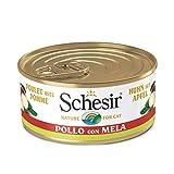 Schesir, Comida húmeda para Gatos Adultos, Sabor filetes de Pollo con Manzana en gelatina Blanda con Verdaderos trozos de Fruta - Total 1,8 kg (24 latas x 75 gr)