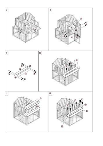 dobar 23033FSC Großer dekorativer Hühnerstall oder Kleintierstall XL mit Freigehege, Pflanzkasten und Legebox, 126 x 128 x 143 cm, weiß-braun-schwarz - 19