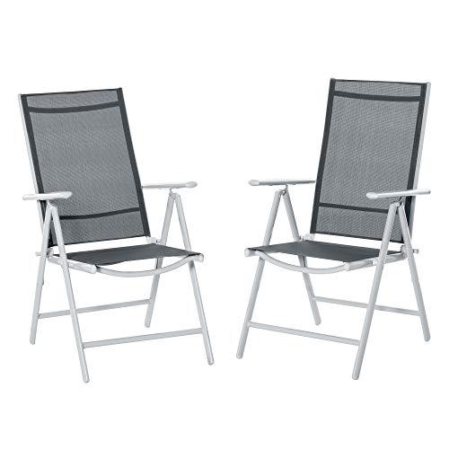 Outsunny Set de 2 Sillas de Comedor de Jardín Plegables de Aluminio con Respaldo Alto Ajustable de 7 Niveles y Reposabrazos Transpirable 65x55x107 cm Gris