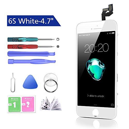 Htechy Kompatible mit iPhone 6s Display Weiß Komplettes LCD Ersatz Retina Set Für Touchscreen Bildschirm Glas mit Kostenlose Werkzeug