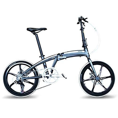 TX 20 Pulgadas Bicicleta Plegable Ligero Aleación De Aluminio Velocidad Variable para Adultos Hombres Mujeres Viajes Urbanos Al Aire Libre,Blanco