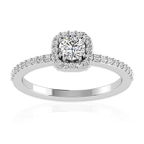 Anillo de halo de moissanita certificado IDCL de 0,58 ct, declaración nupcial de boda, anillo de oro, DEF-VS1 claridad de color, anillo de promesa de piedras preciosas, 14K Oro blanco, Size:EU 67
