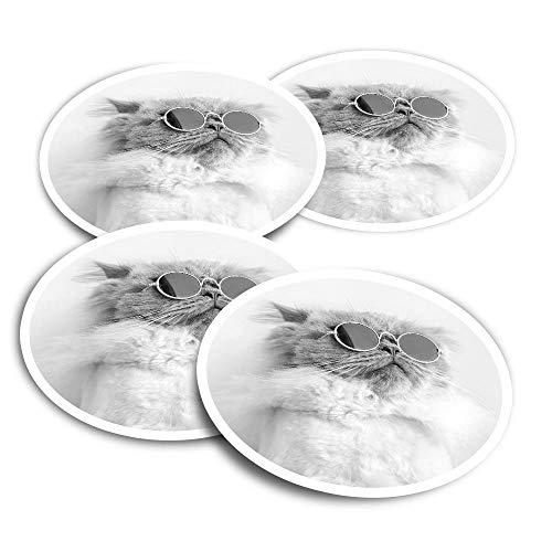 Pegatinas de vinilo (juego de 4) 10 cm – BW – ny White Gafas de sol gato divertidos calcomanías para ordenadores portátiles, tabletas, equipaje, reserva de chatarra y neveras #35618