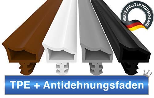 Türdichtung Grau 5m - 4mm Nutbreite / 7mm Nuttiefe / 12mm Falz - Antidehnungsfaden Haustürdichtung Gummidichtung Zimmertürdichtung (grau 5m)