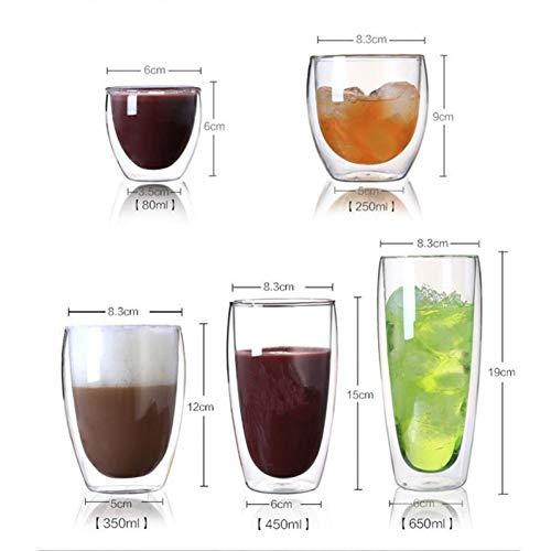 Erjialiu hittebestendige dubbele muur helder glas kopje thee drinkbeker drinken gezondheid Regimen mok koffiebeker