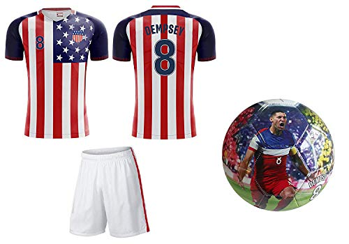 Icon Sports Group Team USA World Cup 2018 United States Youth Soccer Jersey + Shorts + Soccer Ball - Pick Boys OR Girls (YL 10-13 Years, Boys)