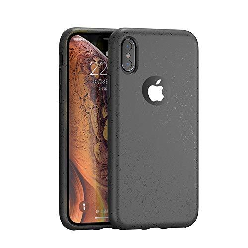 IPAKY Original Schutzhülle für iPhone XS Max, Flüssigsilikon mit [angenehmer Haptik] [Fallschutz] [Anti-Fingerprint] für iPhone XS Max Farbe Schwarz