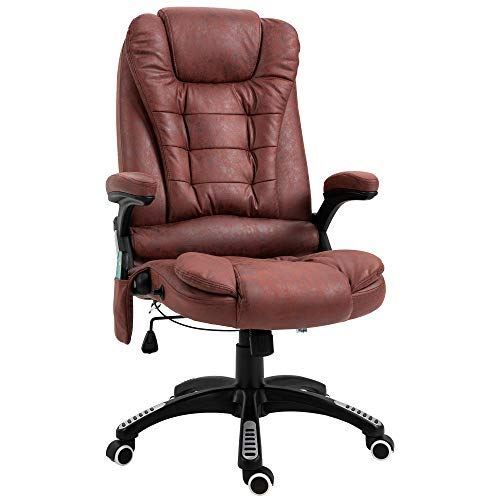 Vinsetto Ergonomic Vibrating Executive Massage Office Chair, with Wheels, Adjustable Height, Leatheraire Fabric, Red