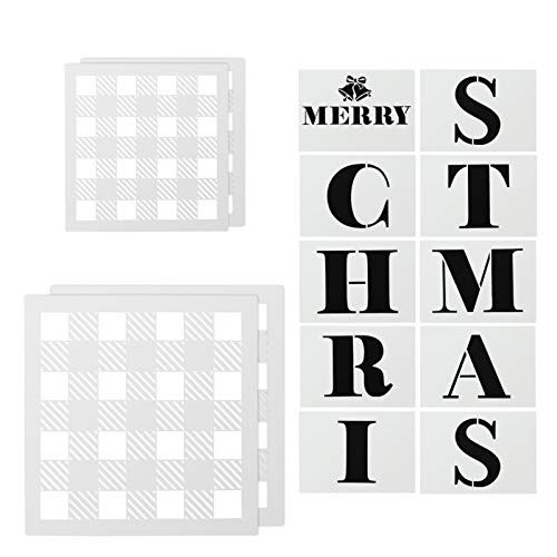 Taicanon 14 Pcs Merry Christmas Gnome Stencils for Buffalo Plaid Stencil 12x12 Inch & 9x9 Inch Reusable Stencil for Painting Wood & Wall Art Canvas Furniture Floor Fabric