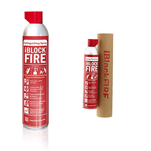 FIRE EXTINGUISHERS FOAM SPRAY Environmentally friendly, biodegradable iBlockFire Ideal for Home, Office, Car, Camper, Caravan, Boat, 600ML only bottle (6)