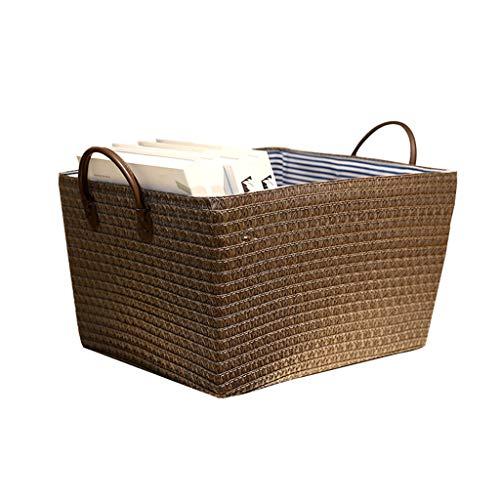 Storage Box Boîte De Rangement, Panier De Rangement De Bureau, Série De Rangement Intérieur pour Le Bureau, Matériel De Sécurité 100% (Color : Brown, Size : 24cm*30cm*36cm)