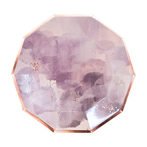 Harlow & Grey Amethyst Purple Watercolor and Rose Gold Large Paper Dinner Plates, Set of 24, Perfect for Birthdays, Weddings, Showers - Disposable Party Plates