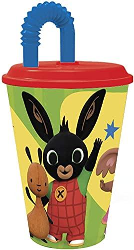 Bicchiere Sport con Cannuccia e Coperchio 430 ml per Bambini in plastica senza BPA (Bing)